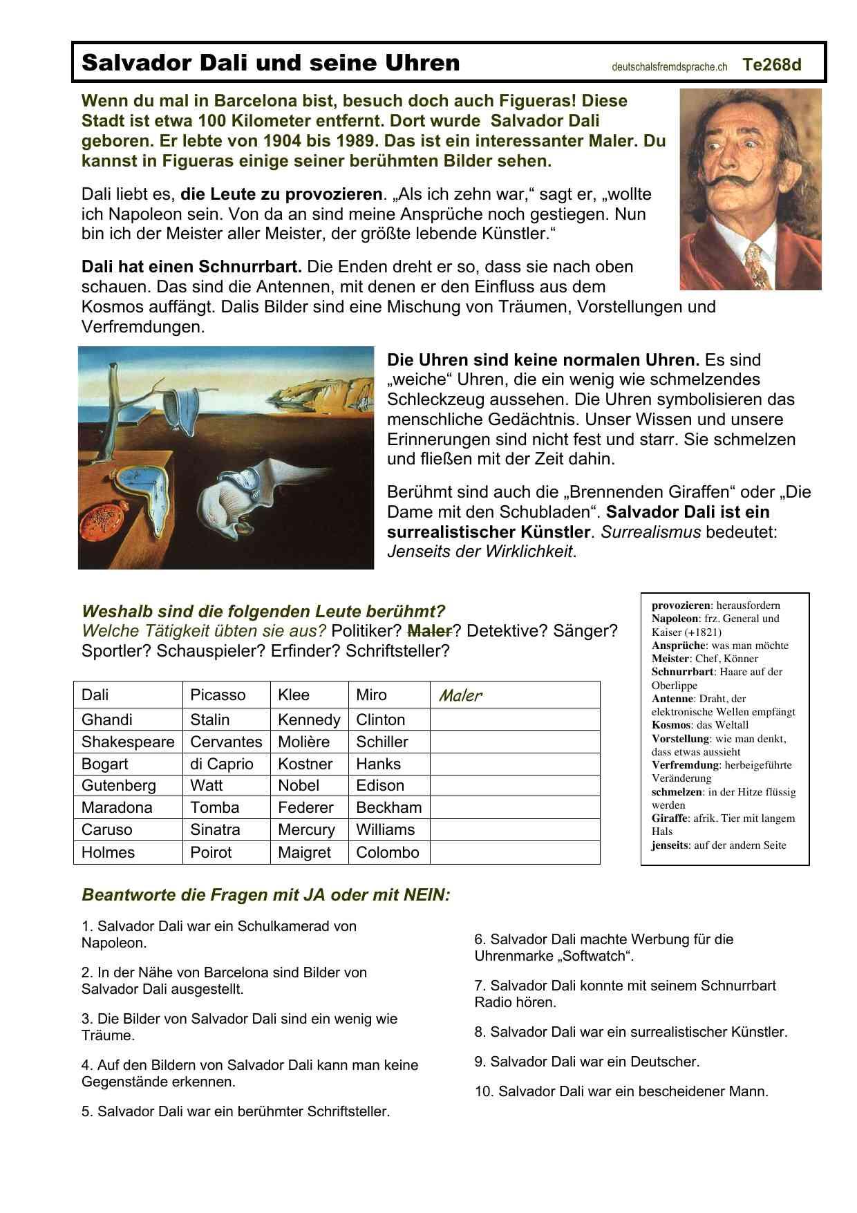 Arbeitsblätter Daf Deutsch Als Fremdsprache